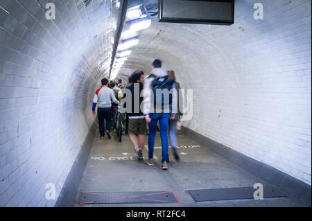 Greenwich foot tunnel under the River Thames, London, UK - Stock Image