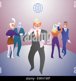 Business people in masquerade mask at party - Stock Image