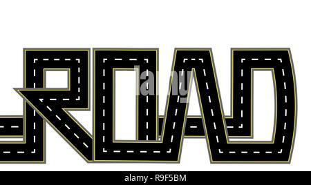 Road. Highway stylized inscription. Isolated illustration - Stock Image