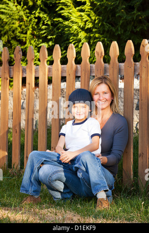 Mother and Son Portrait outdoors - Stock Image