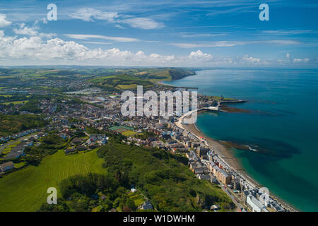 Aberystwyth Wales UK, Tuesday 02 July 2019  UK Weather: A gloriously sunny July morning in Aberystwyth, on the west coast of Wales, as seen from a drone (by a CAA approved commercial operator)  Photo creditt Keith Morris / Alamy Live News - Stock Image