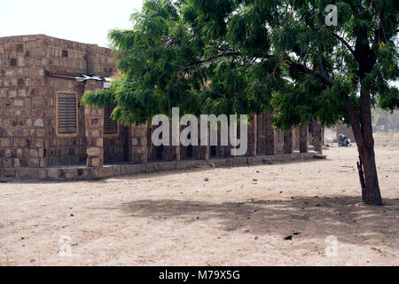 A modern school in a remote village in Dogon country, Mali, West Africa. - Stock Image