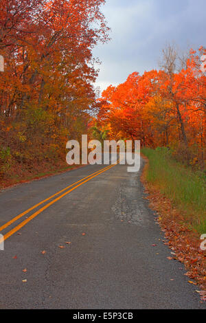 Scenic Arkansas two lane road with curves in the fall, Autumn - Stock Image