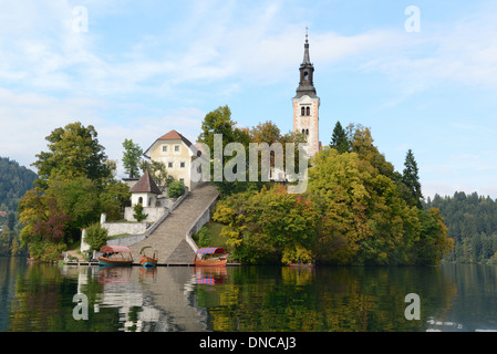 Blejski Otok Island with St. Mary's Church ( Church of the Assumption,)in Lake Bled in Bled - Stock Image