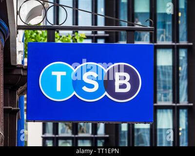 TSB Bank Sign in the City of London Financial District. TSB is a retail and commercial bank operating in the UK and is a subsidiary of Sabadell Group. - Stock Image