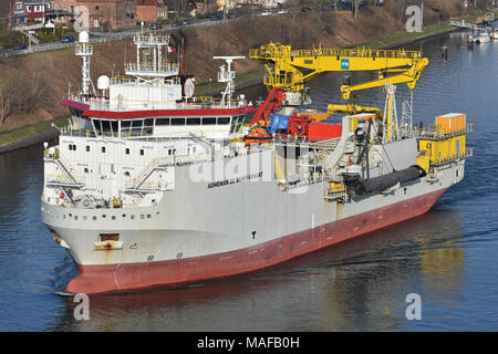 Cable Laying / Pipe Burying Vessel Adhemar de Saint-Venant - Stock Image