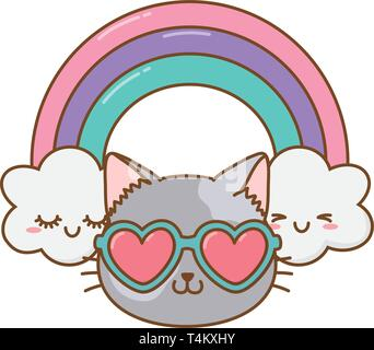 cat with heart sunglasses and rainbow icon cartoon vector illustration graphic design - Stock Image