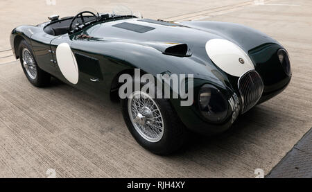 Side  view of a 1955, Jaguar C-type,  at the Silverstone Classic 2017 - Stock Image