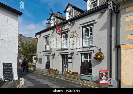 The Red Lion Inn Hawkshead Cumbria England UK United Kingdom GB Great Britain - Stock Image