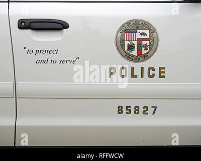 LAPD insignia on a Ford Crown Victoria P71 Police V8 Interceptor that once served in Los Angeles displayed at a class car show in Great Yarmouth. - Stock Image