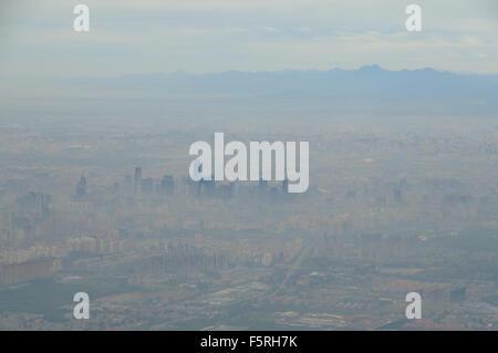 Smog over Beijing skyline, China CN (aerial) - Stock Image