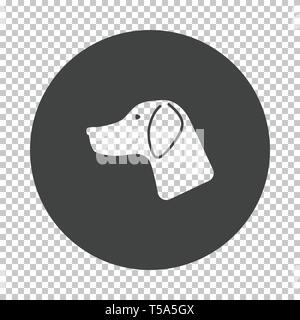 Hunting dog had  icon. Subtract stencil design on tranparency grid. Vector illustration. - Stock Image