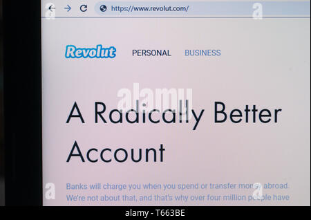 Revolut digital bank website screenshot - Stock Image