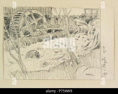 21 Hälsingland. Såg i Rogsta. Teckning av Ferdinand Boberg - Nordiska museet - NMA.0088251 - Stock Image