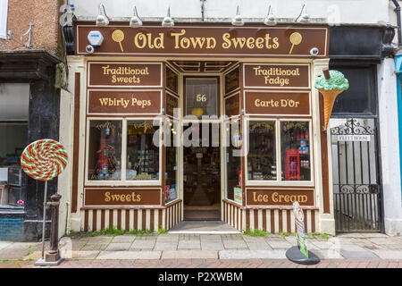 Old Town Sweets at George street at Hastings old town, East Sussex, England , UK - Stock Image