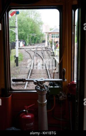 Inside a vintage locomotive, Didcot Railway Centre, United Kingdom - Stock Image