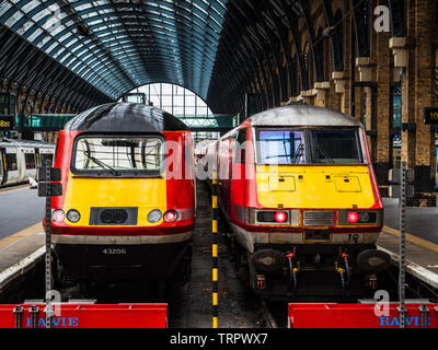 Virgin Trains East Coast Line Trains at Kings Cross Station London UK - Stock Image