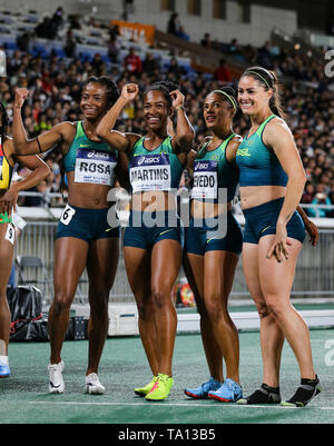YOKOHAMA, JAPAN - MAY 12: Vitoria Cristina Rosa, Lorraine Martins, Ana Carolina Azevedo and Franciela Krasucki of Brazil after they finished 4th in the women's 4x100m relay final during Day 2 of the 2019 IAAF World Relay Championships at the Nissan Stadium on Sunday May 12, 2019 in Yokohama, Japan. (Photo by Roger Sedres for the IAAF) - Stock Image