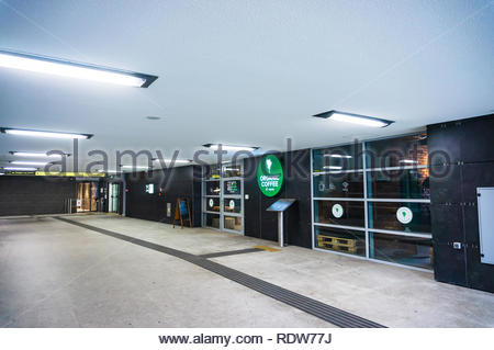 Poznan, Poland - November 21, 2018: Organic Coffee cafe in the Kaponiera underground passage. - Stock Image