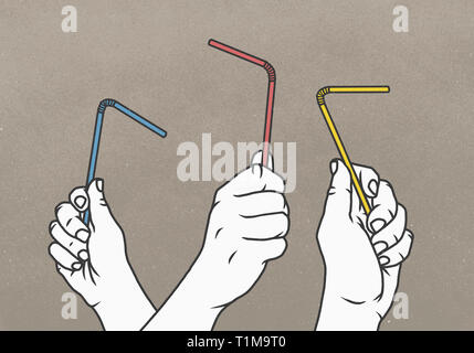Hands holding multicolor straws - Stock Image