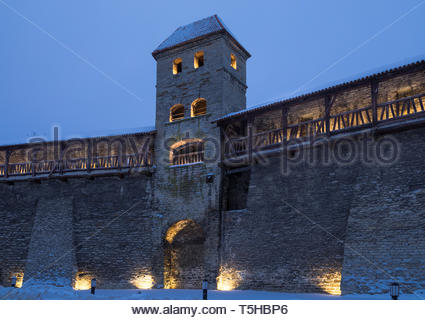 illuminated Tallinn old town buildings in the night. Medieval city wall and towers - Stock Image