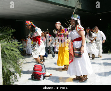 Mexican Dancers at a Traditional Aztec Festival at the National Museum of Anthropology in Mexico City Chapultepec - Stock Image