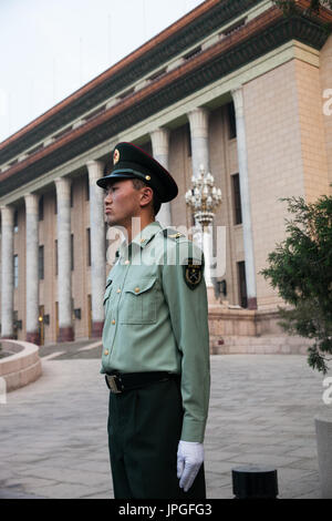 Guard in front the Great Hall of People, Beijing, China - Stock Image