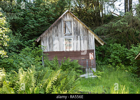 A tiny wooden cottage along the boardwalk on Hammer Slough in Petersburg, Mitkof Island, Alaska. Petersburg settled by Norwegian immigrant Peter Buschmann is known as Little Norway due to the high percentage of people of Scandinavian origin. - Stock Image