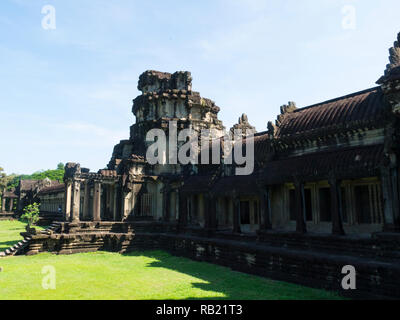 Part of magnificent ruins of Angkor Wat Cambodia Asia an architectural masterpiece and largest religious monuments in the world - Stock Image