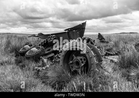 The Remains of a Destroyed WW2 Tank, Cotherstone Moor, Teesdale, County Durham, UK - Stock Image