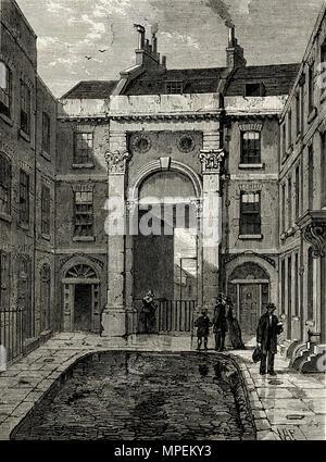 Essex Water Gate, Essex Street, The Strand, London England UK. 19th century Victorian engraving circa 1878 - Stock Image