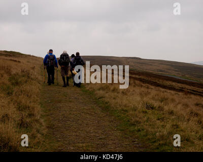 Walkers on the Dane Valley Way, Buxton, The Peak District, Derbyshire, UK - Stock Image