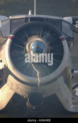 An-2 aircraft viewed from front with fast turning propeller - Stock Image