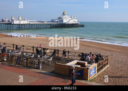 Eastbourne, UK. 17th Feb 2019. uk weather. Visitors to Eastbourne enjoy todays sunny weather. Credit:Ed Brown/Alamy Live News - Stock Image