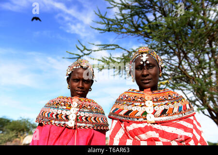 Colorful Samburu women in northern Kenya. - Stock Image