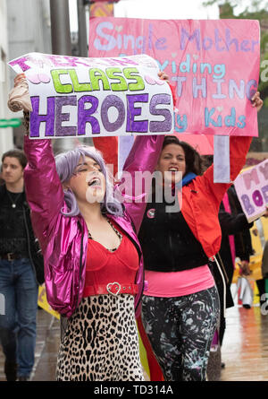 Strip club dancer Celia Lister protests with with other demonstrators to oppose moves to close a branch of Spearmint Rhino in Sheffield. - Stock Image