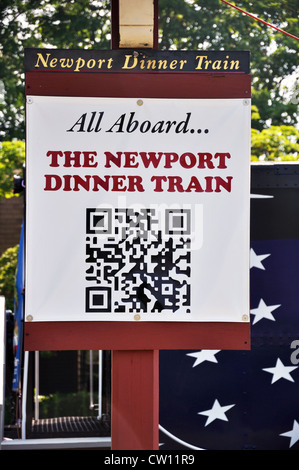 QR code for Dinner Train in Newport, Rhode Island, USA - Stock Image