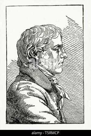 Caspar David Friedrich (1774-1840), self portrait, woodcut print, after 1794 - Stock Image