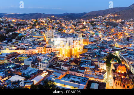 The city of Guanajuato at night as seen from above. - Stock Image