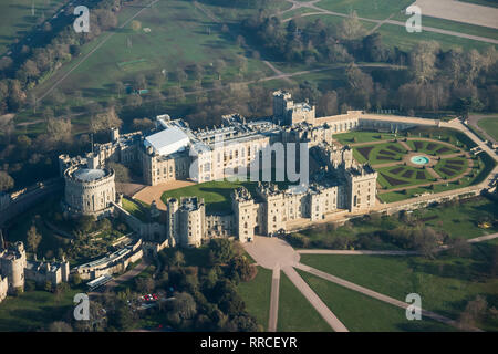 Aerial view of Windsor Castle, London, UK - Stock Image