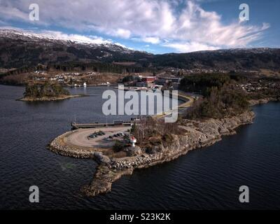 Venjaneset ferry quay, Fusa, Norway - Stock Image