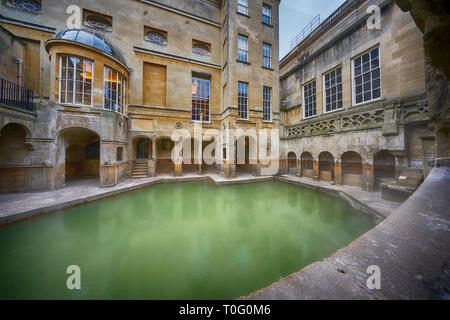 the roman baths in bath - Stock Image