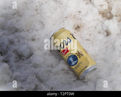 Quebec,Canada. A discarded empty can of Coors beer - Stock Image