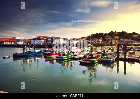 Trawlers in Saint Jean de Luz harbour in Pays Basque, France - Stock Image