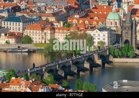 Prague Charles Bridge, aerial view of the Charles Bridge and buildings in the Old Town  - Stare Mesto - district of Prague, Czech Republic. - Stock Image