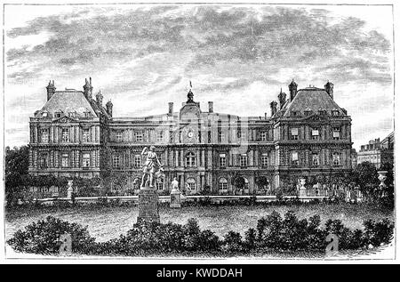 The Luxemboug Palace, Paris where the French Senate Met; Engraving circa 1874 - Stock Image