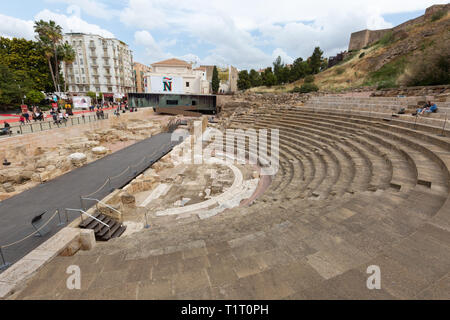 The ruins of El Teatro Romano, or Roman Theatre, built in the 1st century BC, Malaga old town, Malaga Spain - Stock Image