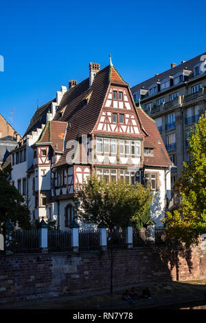 Strasbourg, Alsace, France, Alfred Marzolff half-timbered house, school director housing, Lycée des Pontonniers, international high school, - Stock Image