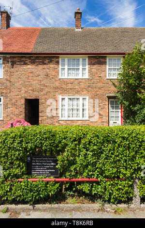 The former home of Paul McCartney at Forthlin Road, Liverpool. The home of the former Beatle is managed as a visitor attraction by the National Trust - Stock Image
