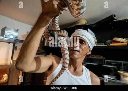 Karmei Yosef, Israel. 15th July, 2019. Israeli snake handler, breeder and catcher RAFAEL YIFRACH, 52, handles a Black Headed Python in his home in Karmei Yosef. Yifrach has been intrigued by snakes since he was seven years old, he's been bitten by venomous snakes 18 times and currently grows and breeds some 300 non venomous snakes. World Snake Day is celebrated 16th July contributing to the cause of conservation of a sometimes dangerous but mostly misrepresented reptile. Credit: Nir Alon/Alamy Live News. - Stock Image